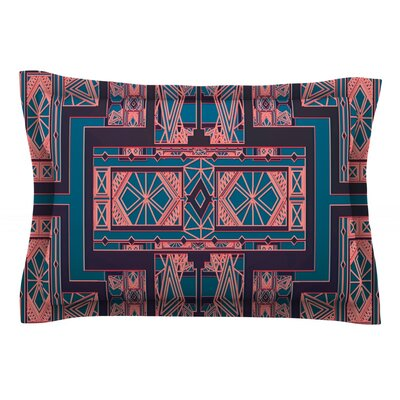 Golden Art Deco by Nika Martinez Featherweight Pillow Sham Size: Queen, Color: Blue/Coral, Fabric: Cotton