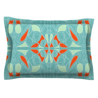 Seafoam and Orange by Miranda Mol Featherweight Pillow Sham Size: King, Fabric: Cotton