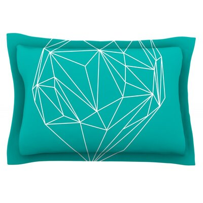 Heart Graphic Turquoise by Mareike Boehmer Featherweight Pillow Sham Size: Queen, Fabric: Cotton