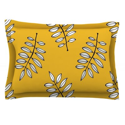 Pagoda Leaf Gold by Laurie Baars Featherweight Pillow Sham Size: Queen