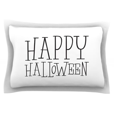 Happy Halloween Featherweight Pillow Sham Size: Queen, Color: White, Fabric: Cotton