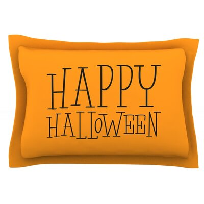 Happy Halloween Featherweight Pillow Sham Size: King, Color: Orange, Fabric: Cotton
