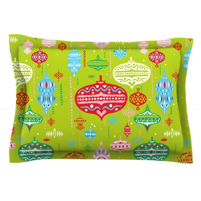 Ornate by Miranda Mol Featherweight Pillow Sham Size: Queen, Color: Green, Fabric: Cotton