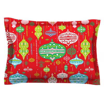 Ornate by Miranda Mol Featherweight Pillow Sham Size: King, Color: Red, Fabric: Cotton