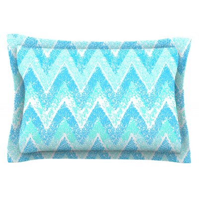 Mint Snow Chevron by Marianna Tankelevich Featherweight Pillow Sham Size: Queen, Fabric: Cotton