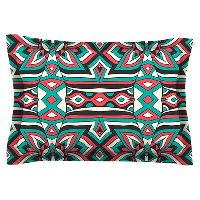 Ethnic Floral Mosaic by Pom Graphic Design Featherweight Pillow Sham Size: King, Fabric: Cotton