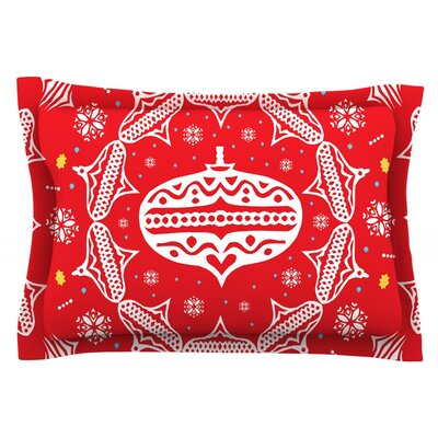 Deco Wreath by Miranda Mol Featherweight Pillow Sham Size: King, Color: Red, Fabric: Cotton