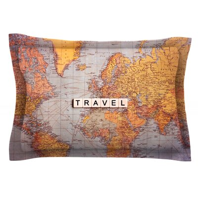Travel Map by Sylvia Cook Featherweight Pillow Sham Size: Queen, Fabric: Cotton