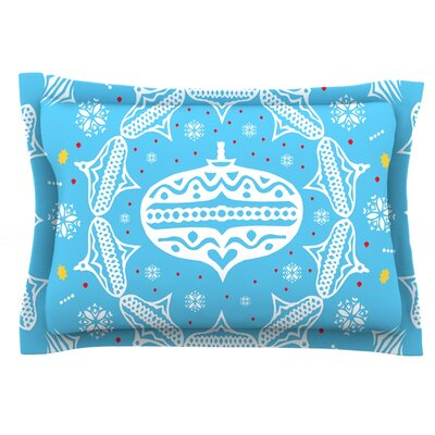 Deco Wreath by Miranda Mol Featherweight Pillow Sham Size: Queen, Color: Blue, Fabric: Cotton