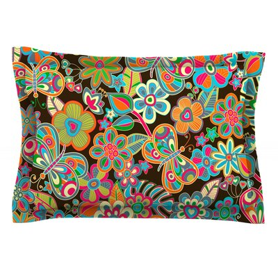 My Butterflies & Flowers by Julia Grifol Featherweight Pillow Sham Size: Queen, Fabric: Cotton