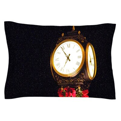 Xmas Clock by Robin Dickinson Featherweight Pillow Sham Size: Queen, Fabric: Cotton