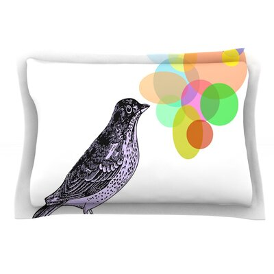 Candy Birds by Sreetama Ray Featherweight Pillow Sham Size: King, Fabric: Cotton