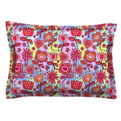 My Folk Flowers by Julia Grifol Featherweight Pillow Sham Size: King, Fabric: Cotton
