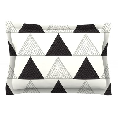 Textured Triangles by Laurie Baars Featherweight Pillow Sham Size: King, Color: Black/White, Fabric: Cotton
