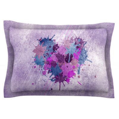 Painted Heart by Nick Atkinson Featherweight Pillow Sham Size: Queen, Fabric: Cotton