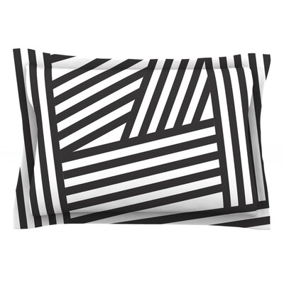 Stripes by Louise Machado Woven Pillow Sham Size: King, Color: Black