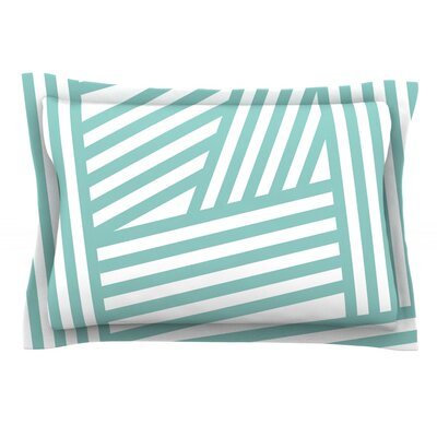 Stripes by Louise Machado Woven Pillow Sham Size: King, Color: Aqua