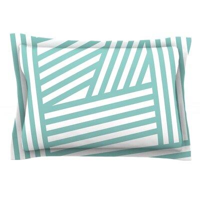 Stripes by Louise Machado Woven Pillow Sham Size: Queen, Color: Aqua