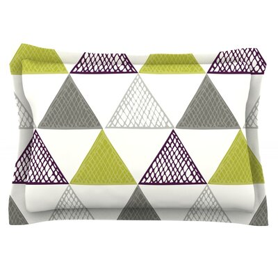Textured Triangles by Laurie Baars Featherweight Pillow Sham Size: Queen, Color: Gray/Green/White, Fabric: Cotton