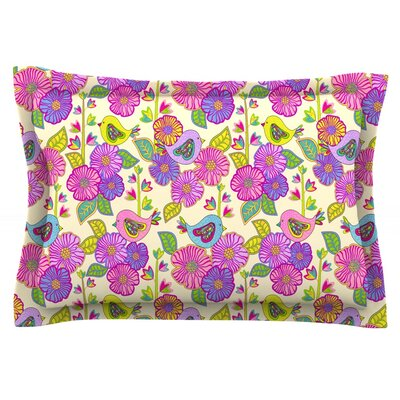My Birds and My Flowers by Julia Grifol Featherweight Pillow Sham Size: King, Fabric: Cotton