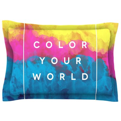 Color Your World by Galaxy Eyes Featherweight Pillow Sham Size: Queen, Fabric: Cotton
