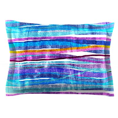 Fancy Stripes by Frederic Levy-Hadida Featherweight Pillow Sham Size: King, Color: Dark Blue