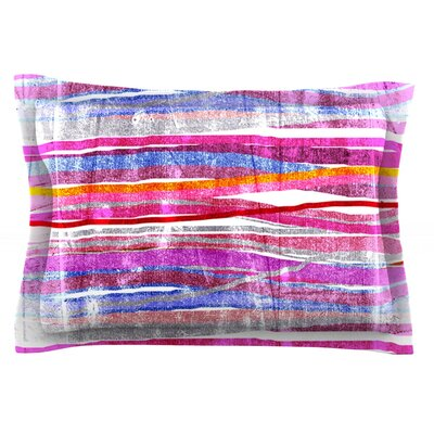 Fancy Stripes by Frederic Levy-Hadida Featherweight Pillow Sham Size: Queen, Color: Pink