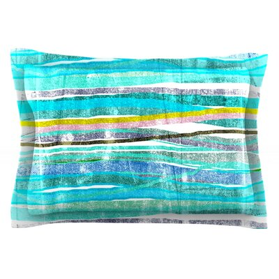 Fancy Stripes by Frederic Levy-Hadida Featherweight Pillow Sham Size: King, Color: Aqua