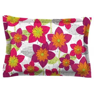 Star Flower by Jacqueline Milton Featherweight Pillow Sham Size: King, Fabric: Cotton