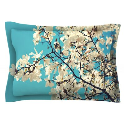 White Magnolias by Sylvia Cook Featherweight Pillow Sham Size: King, Fabric: Cotton