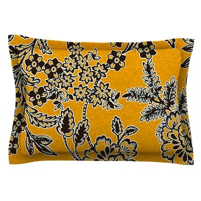 Golden Blossom by Vikki Salmela Featherweight Pillow Sham Size: King, Fabric: Cotton