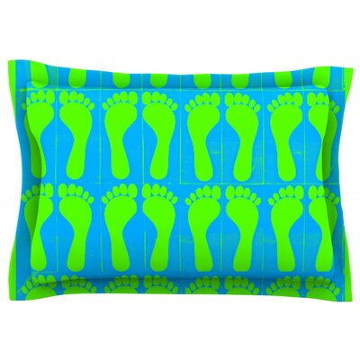 Footprints by Sreetama Ray Featherweight Pillow Sham Size: Queen, Color: Green