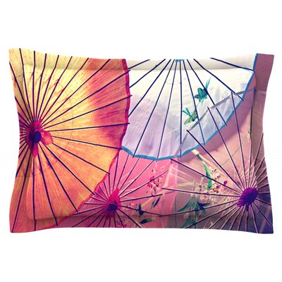 Colorful Umbrellas by Sylvia Cook Featherweight Pillow Sham Size: Queen, Fabric: Cotton