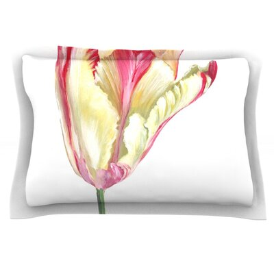 Red Tip Tulip by Lydia Martin Featherweight Pillow Sham Size: Queen, Fabric: Cotton