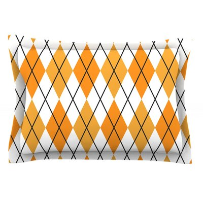Argyle Woven Pillow Sham Size: Queen, Color: White