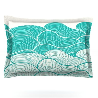 The Calm and Stormy Seas by Pom Graphic Design Featherweight Pillow Sham Size: King, Fabric: Cotton