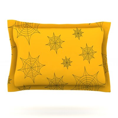 Mini Webs Featherweight Pillow Sham Color: Orange, Size: Queen
