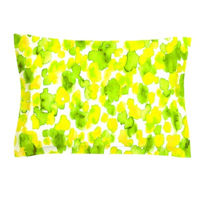 Giraffe Spots by Ebi Emporium Featherweight Pillow Sham Size: Queen, Color: Green/Yellow