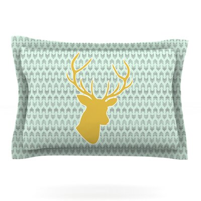 Golden Deer by Pellerina Design Featherweight Pillow Sham Size: Queen, Fabric: Cotton