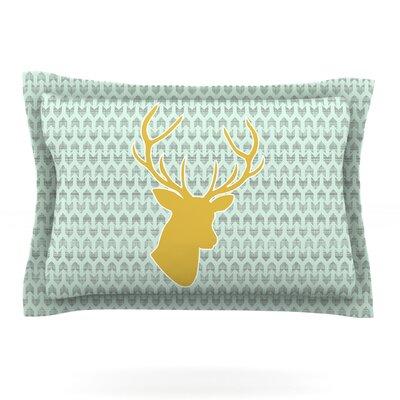 Golden Deer by Pellerina Design Featherweight Pillow Sham Size: Queen, Fabric: Cotton