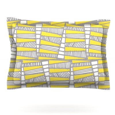 Jaggi Yellow Gray by Gill Eggleston Featherweight Pillow Sham Size: King, Fabric: Cotton