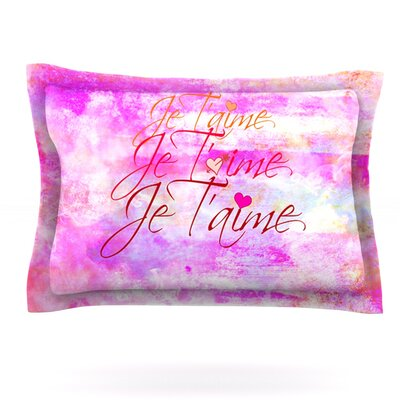 Je T'aime II by Ebi Emporium Featherweight Pillow Sham Size: King, Fabric: Cotton