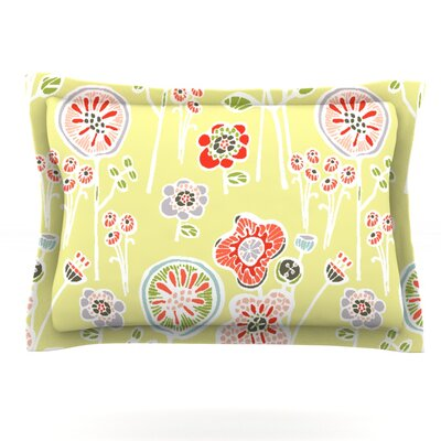 Folky Floral by Gill Eggleston Pillow Sham Color: Green/Yellow, Size: King, Fabric: Cotton