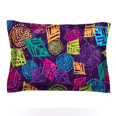 African Beat by Emine Ortega Featherweight Pillow Sham Size: Queen, Color: Purple, Fabric: Cotton