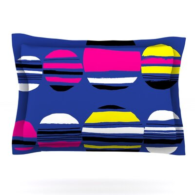 Retro Circles by Emine Ortega Featherweight Pillow Sham Size: King, Color: Cobalt, Fabric: Cotton