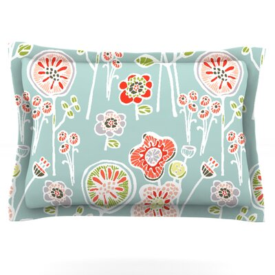 Folky Floral by Gill Eggleston Pillow Sham Size: King, Color: White/Blue, Fabric: Cotton