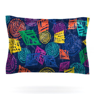 African Beat by Emine Ortega Featherweight Pillow Sham Size: Queen, Color: Blue, Fabric: Woven Polyester