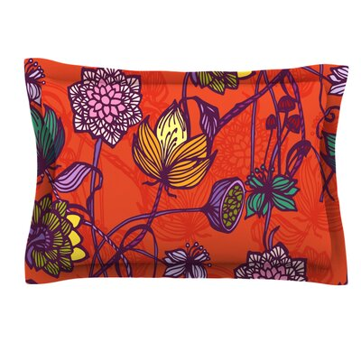 Garden Blooms Hot by Gill Eggleston Pillow Sham Size: King, Fabric: Cotton