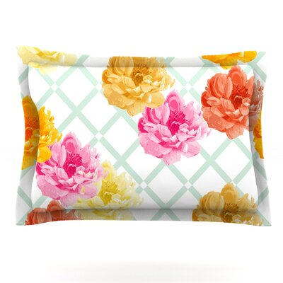 Pellerina Design Trellis Peonies Yellow Flowers Featherweight Sham Size: King, Fabric: Cotton