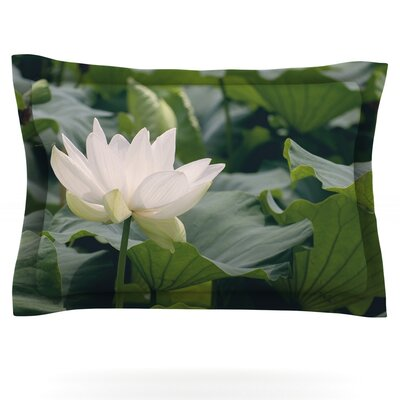 White Lotus by Catherine McDonald Featherweight Pillow Sham Size: King, Fabric: Cotton